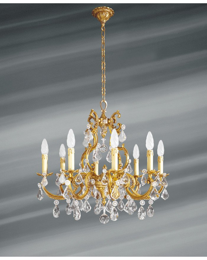 Lucien Gau 8-light vieil or chandelier with strass 15888 cristaux
