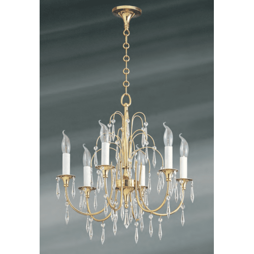 Lucien Gau 6-light vieil or chandelier with pendeloques strass 726 ter cristaux