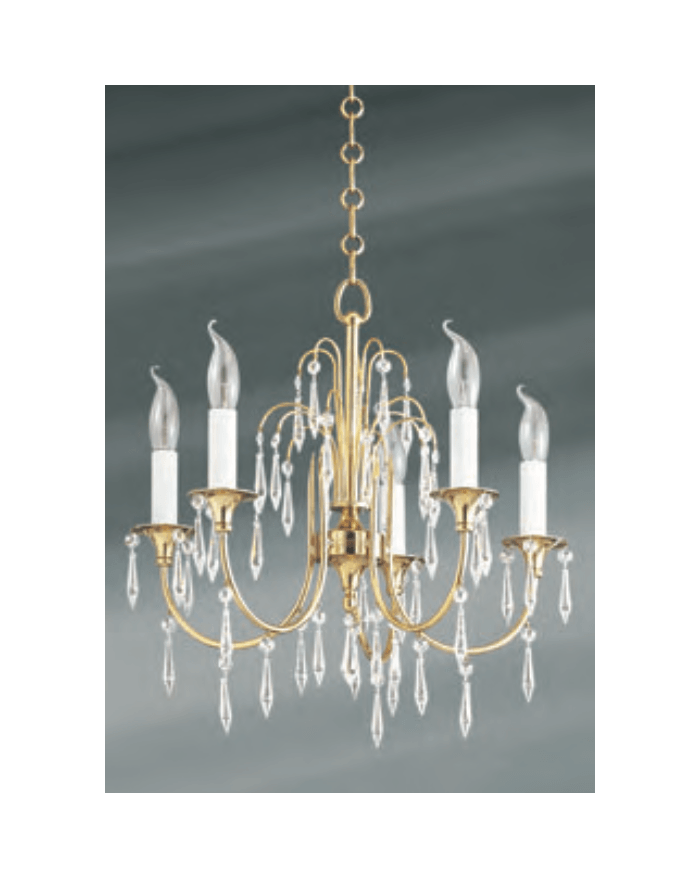 Lucien Gau 5-light vieil or chandelier with pendeloques strass 725 ter cristaux