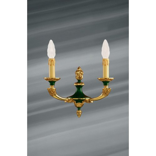 Lucien Gau Empire style bronze lamp with two lights 15302