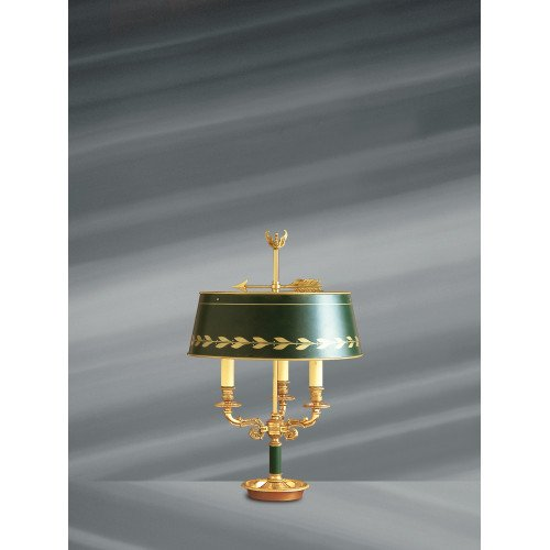Lucien Gau Empire style lamp Bouillotte with three lights and lampshade 15033