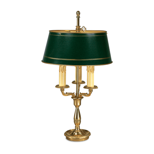 Lucien Gau Empire bronze lamp Bouillotte with three lights with lampshade 15113
