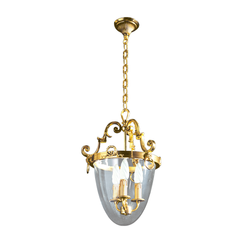 Lucien Gau Bronze lantern with three lights and glass base 16303