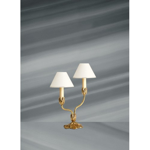 Lucien Gau two-light polychrome lamp with lampshade 31362 Nymphéa Classique