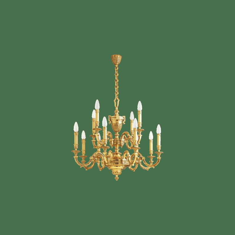 Lucien Gau Gilt bronze chandelier 16672 Louis XVI