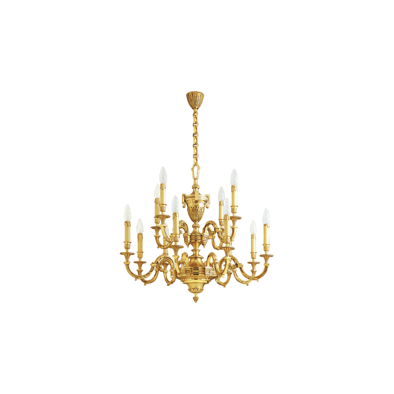 Lucien Gau Vergoldeter Bronze-Kronleuchter 16672 Louis XVI