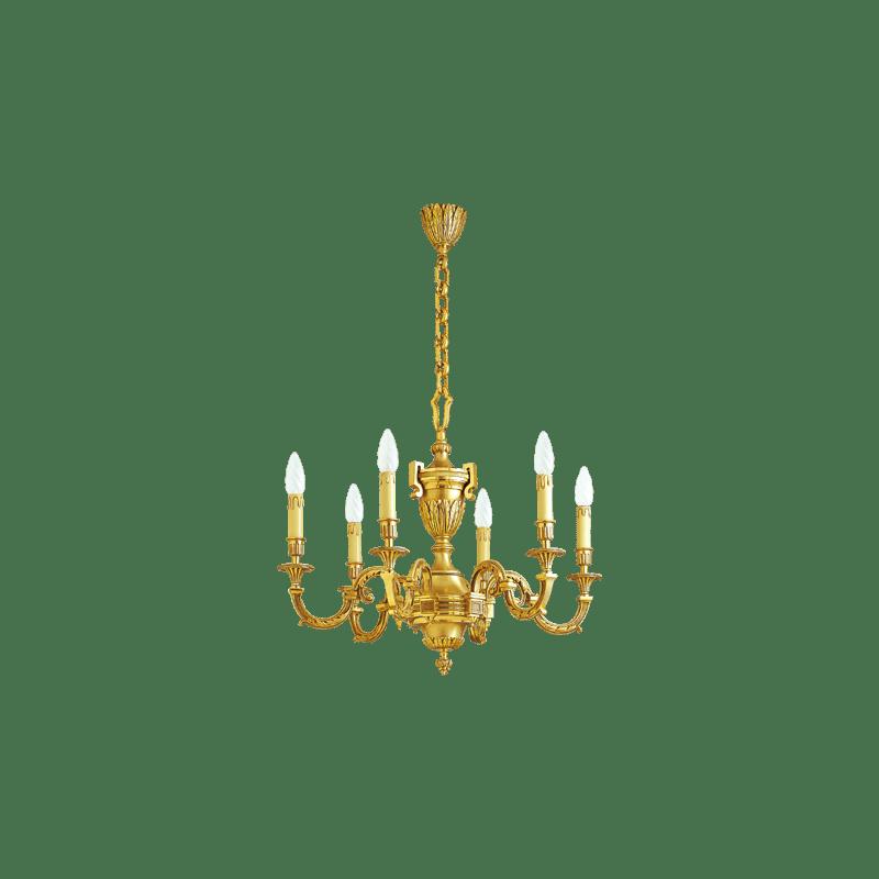 Lucien Gau Lustre en bronze six lumières 16736 Louis XVI