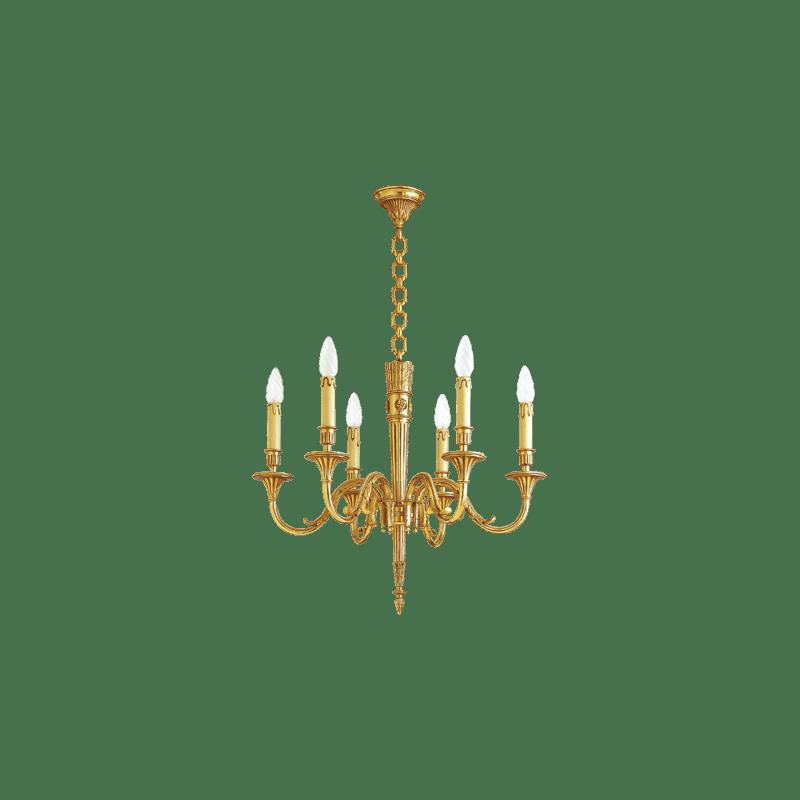 Lucien Gau Gilded bronze chandelier 16706 Louis XVI