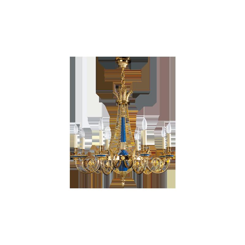 Lucien Gau Directoire style chandelier 16728 bis / in 24K nitrate gilding