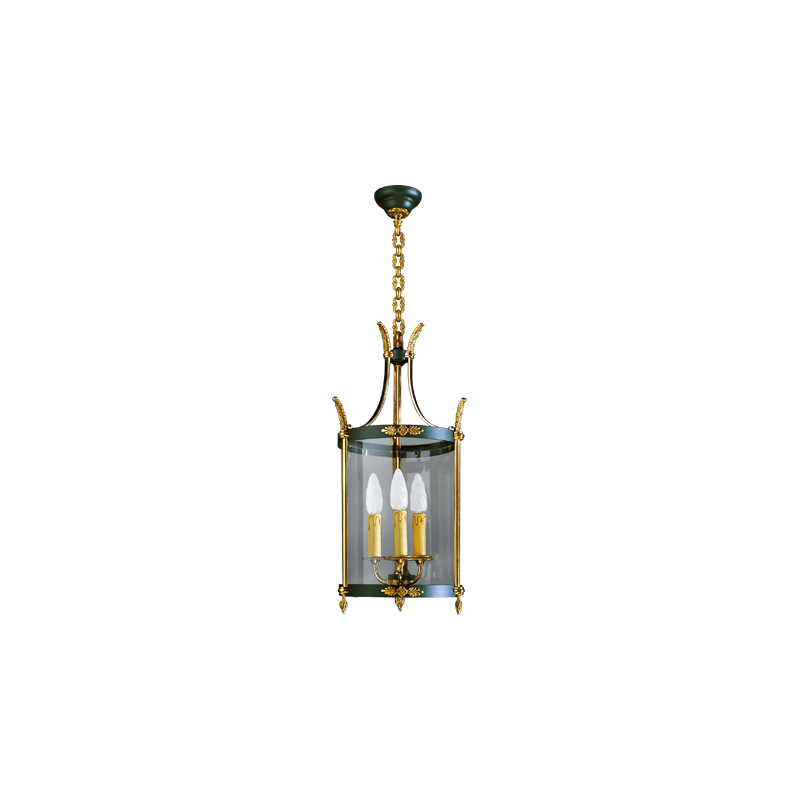 Lucien Gau Empire lantern with three lights and curved glass 15453