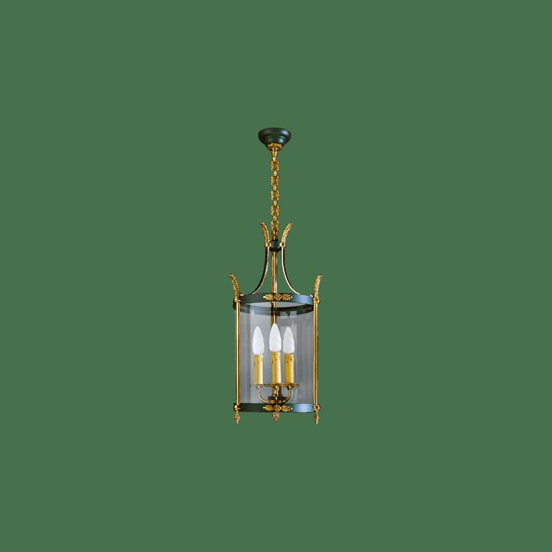 Lucien Gau Empire Laterne mit drei Lichtern und gebogenem Glas 15453