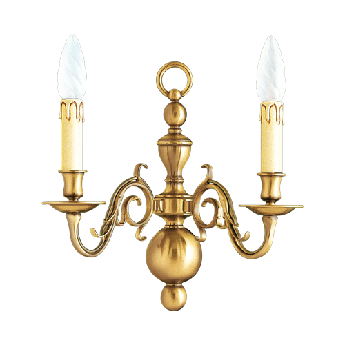 Lucien Gau Patinated brass wall lamp 14442 Dutch style