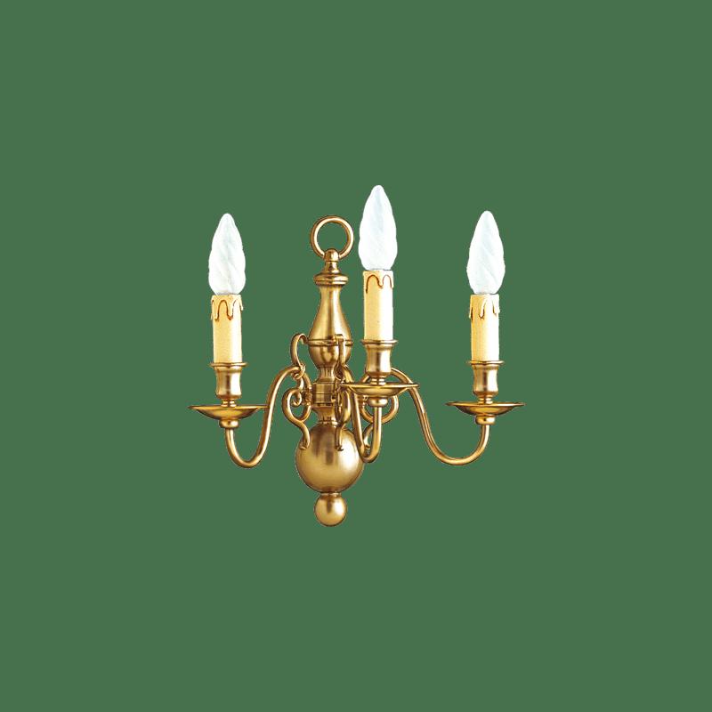 Lucien Gau Applique en bronze trois lumières 14222/3 Style Hollandais