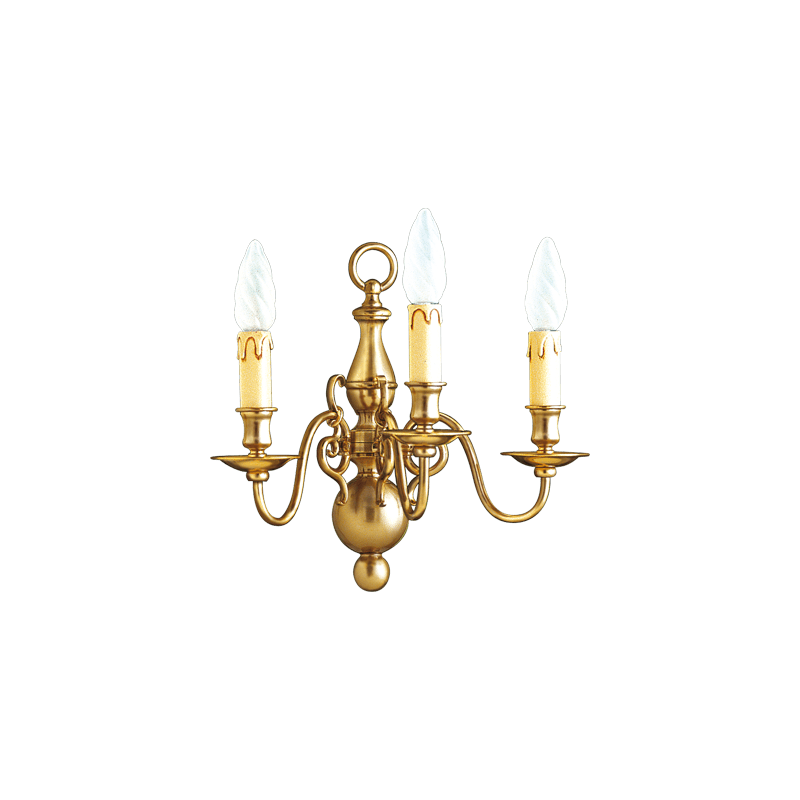 Lucien Gau Wall lamp bronze three lights 14222/3 Dutch style