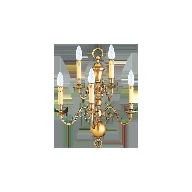 Lucien Gau Applique niederländischen Stil fünf Lichter 14442/5