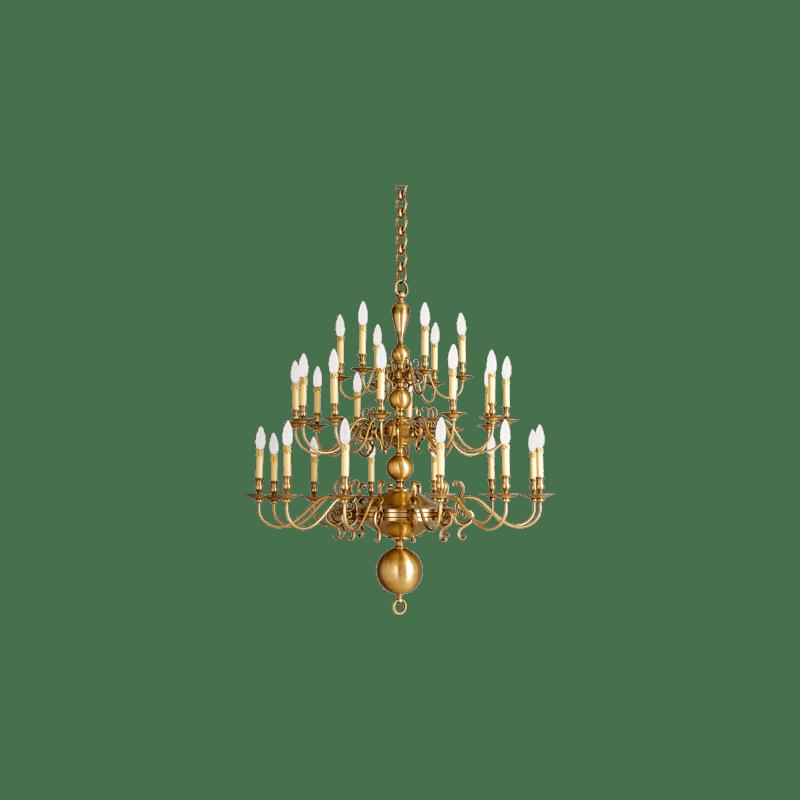 Lucien Gau Lustre trente lumières 14230 Style Hollandais