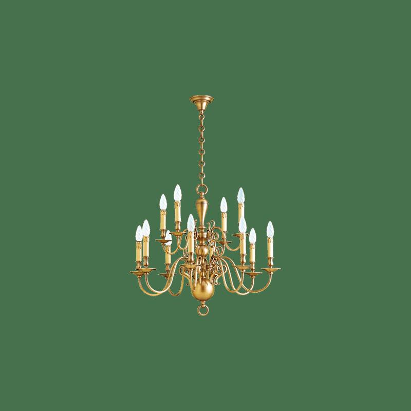 Lucien Gau Bronze chandelier 14272 Dutch style
