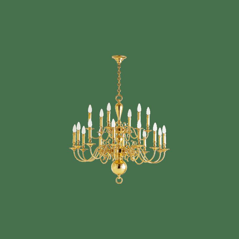 Lucien Gau Kronleuchter hellgold Dekor achtzehn Lichter 14278 Niederländischer Stil