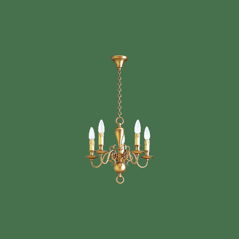 Lucien Gau Lustre en bronze cinq lumières 14205 Style Hollandais