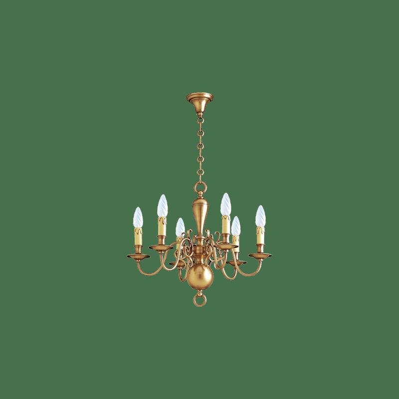 Lucien Gau bronze chandelier six lights 14226 Dutch style