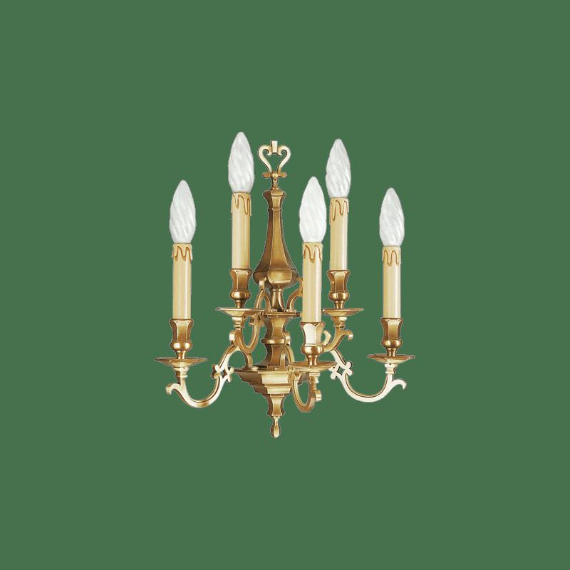 Lucien Gau Applique en bronze massif cinq lumières 13235 Louis XIII