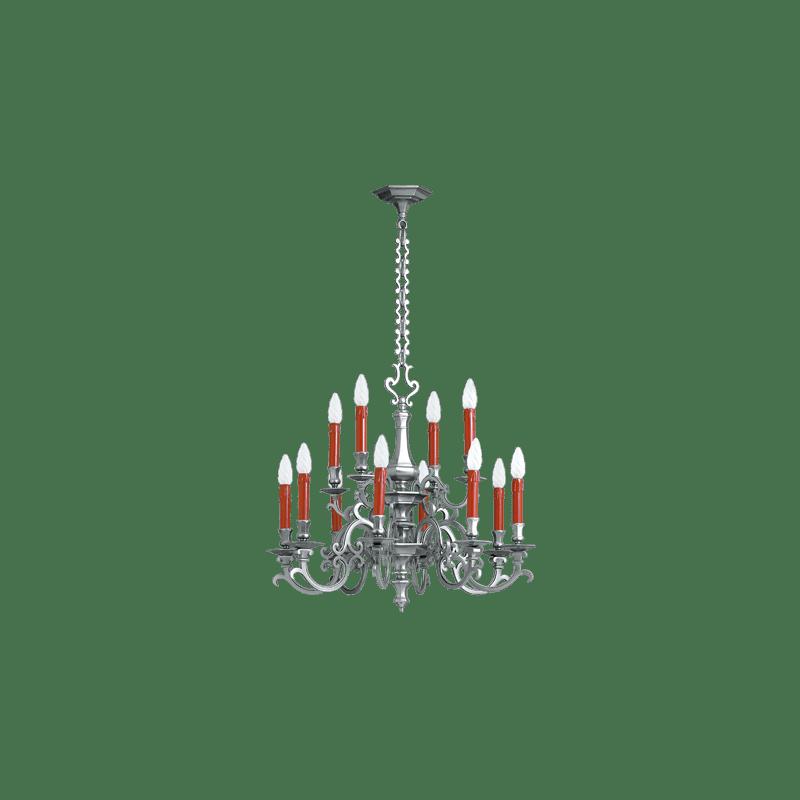 Lucien Gau Twelve solid bronze chandelier 13208/12 Louis XIII