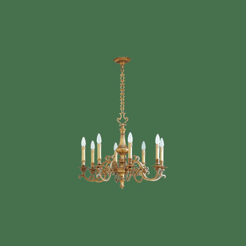 Lucien Gau Eight light bronze chandelier 13208 Louis XIII
