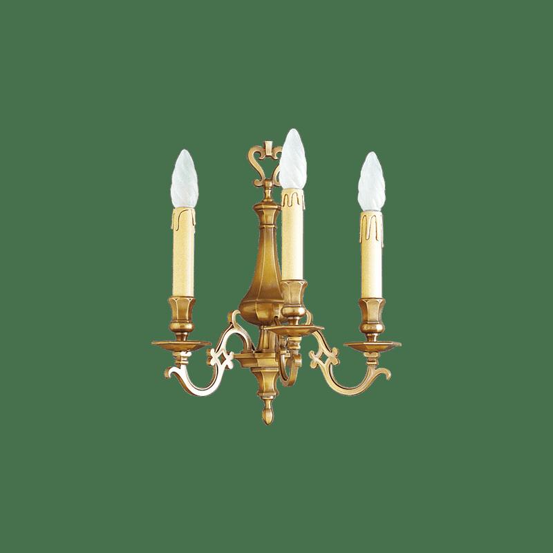 Lucien Gau Applique en bronze massif trois lumières 13233 Louis XIII