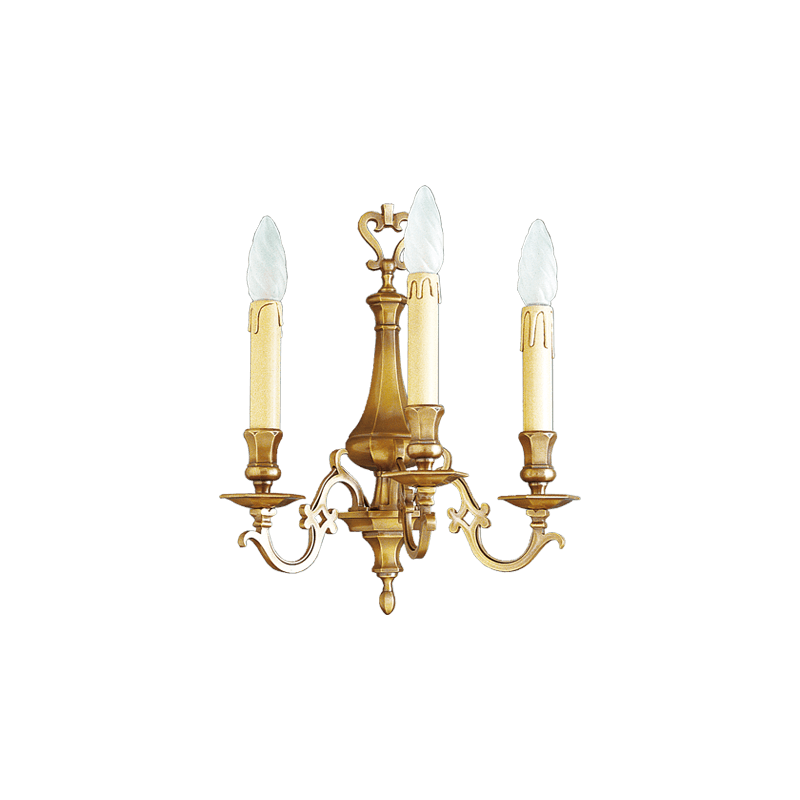 Lucien Gau Wall lamp in solid bronze three lights 13233 Louis XIII