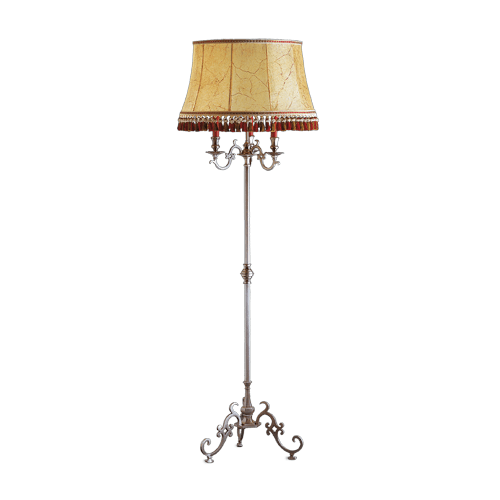 Lucien Gau Floor lamp in solid bronze with lampshade 13403 ter Louis XIII