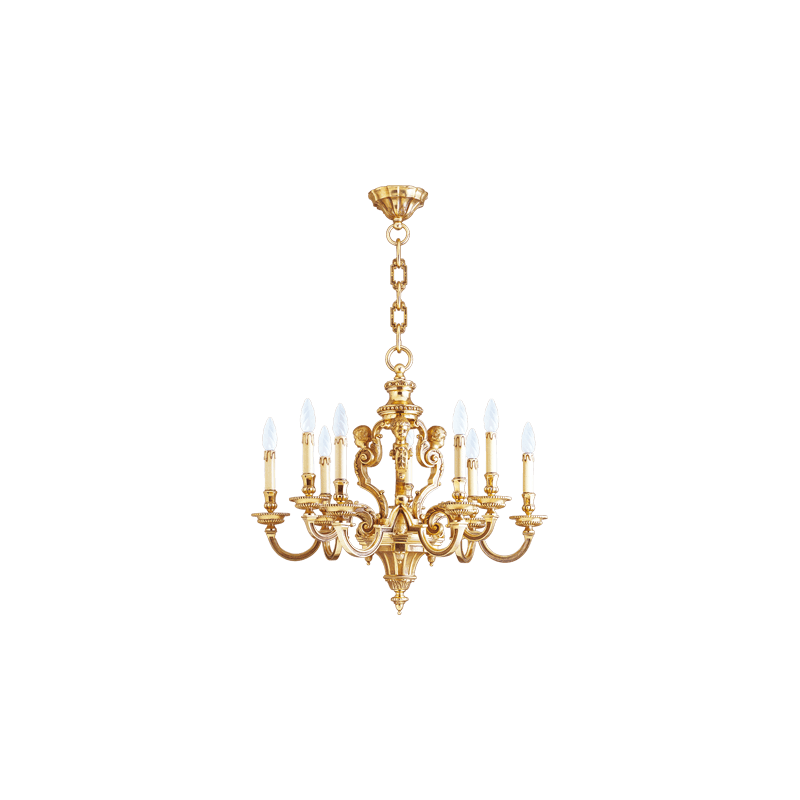 Lucien Gau Louis XIV solid bronze chandelier with nine lights 14849 Louis XIV