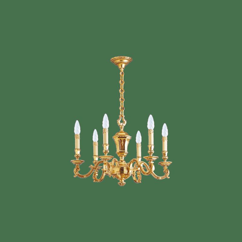 Lucien Gau Louis XIV solid bronze chandelier with six lights 14956 Louis XIV