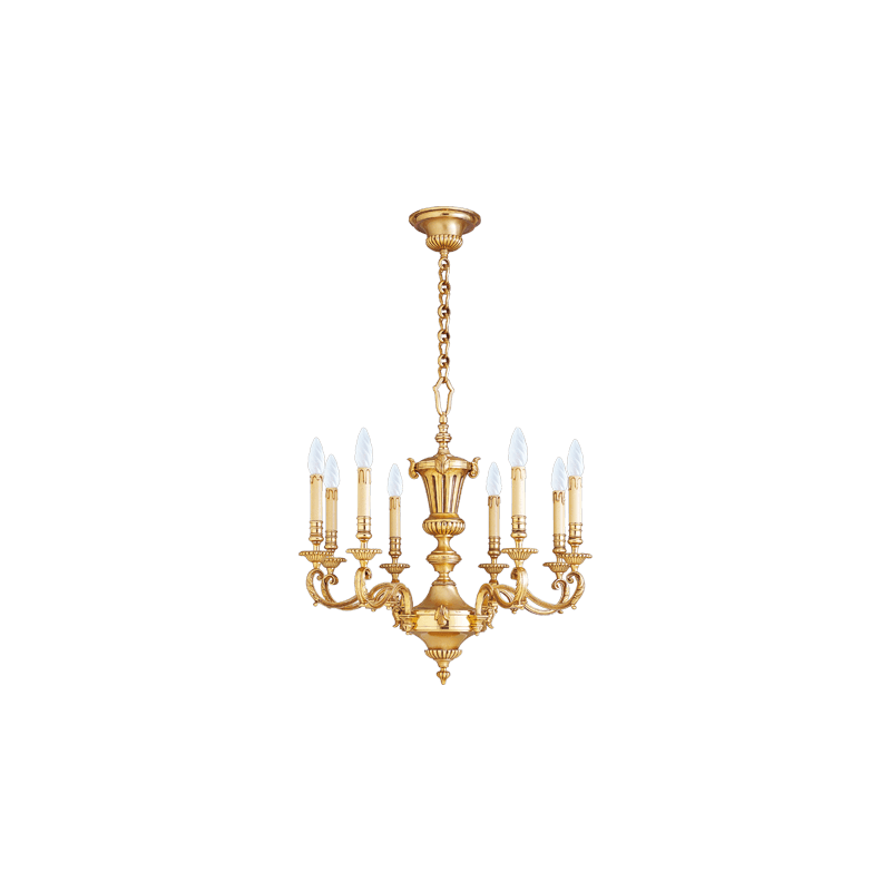 Lucien Gau Louis XIV chandelier in solid bronze with eight lights 15908