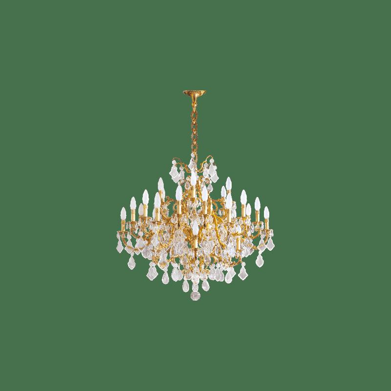 Lucien Gau Lustre doré en cristal 30 lumières Louis XV 15395/30 Cristaux
