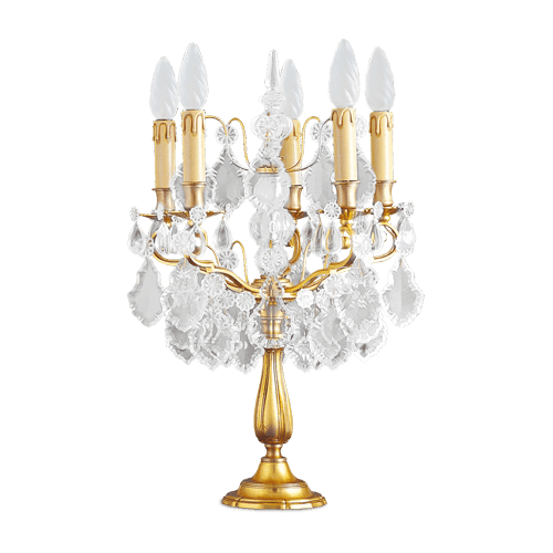 Lucien Gau Crystal table lamp with five lights 14085