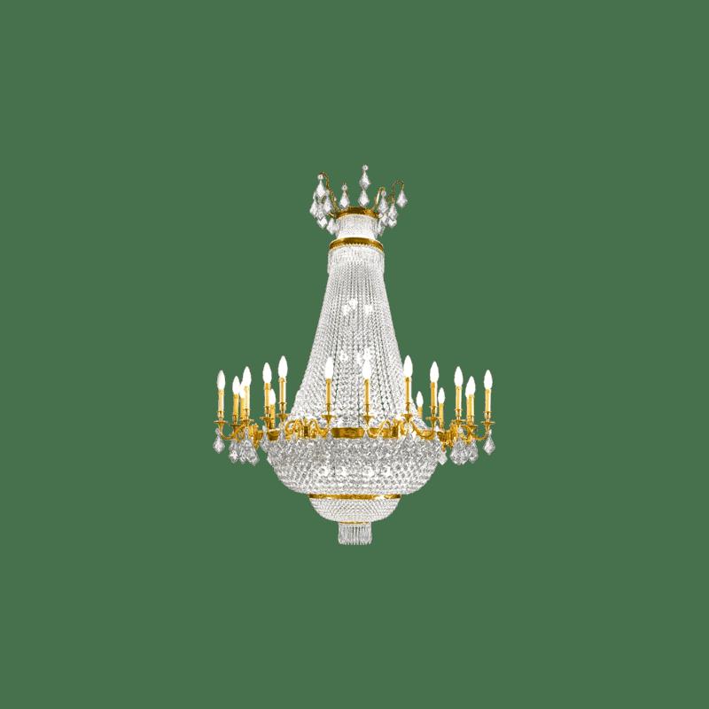 Lucien Gau Lustre en bronze massif et en cristal à 40 lumières 16040 Cristaux