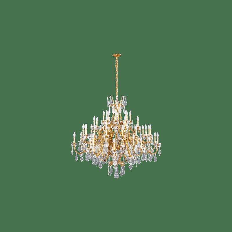 Lucien Gau Lustre doré en cristal 56 lumières Louis XV 15395/56 Cristaux