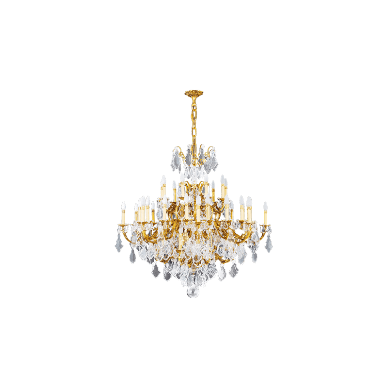 Lucien Gau Golden chandelier in crystal 45 lights Louis XV 15395/45 Crystals