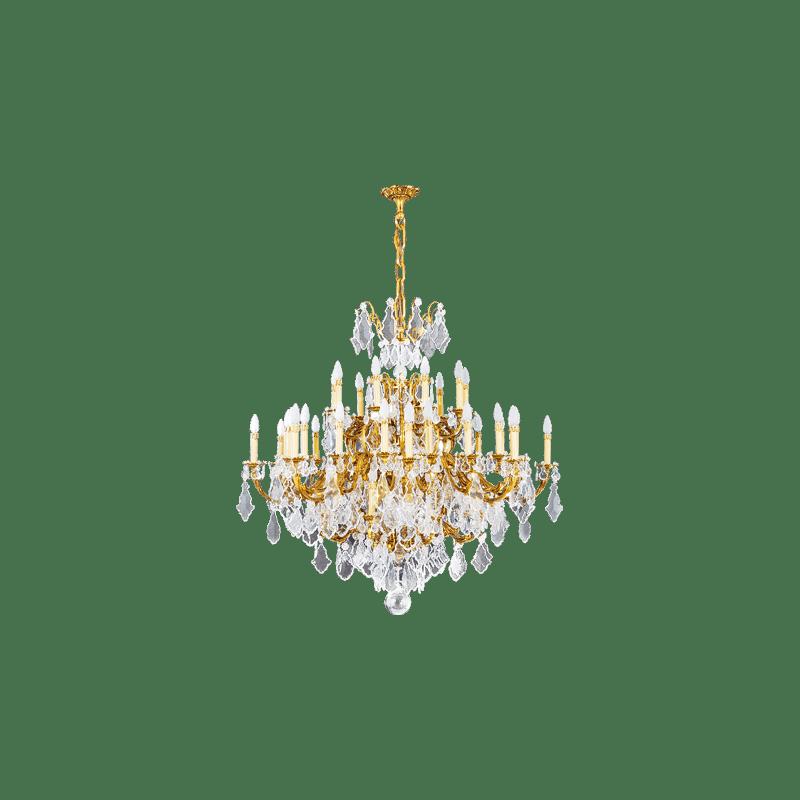 Lucien Gau Lustre doré en cristal 45 lumières Louis XV 15395/45 Cristaux