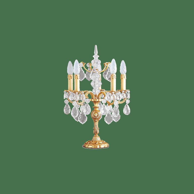 Lucien Gau Böhmische Kristall Tischlampe aus massiver Louis XV Bronze mit fünf Leuchten 15385 Kristalle