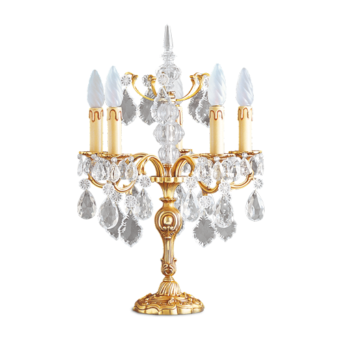 Lucien Gau Bohemian crystal table lamp in solid Louis XV bronze with five lights 15385