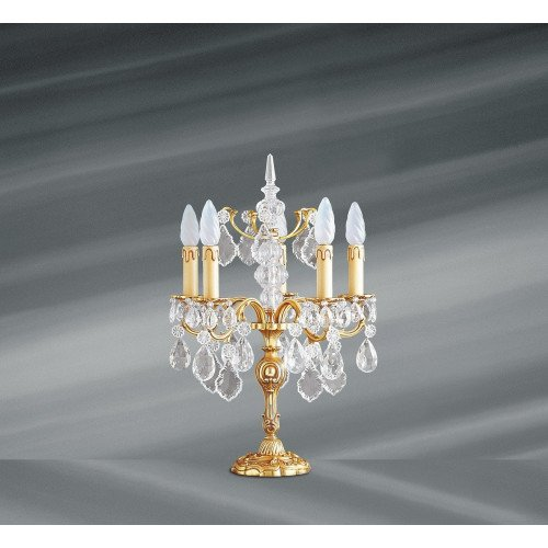 Lucien Gau Bohemian crystal table lamp in solid Louis XV bronze with five lights 15385 Crystals