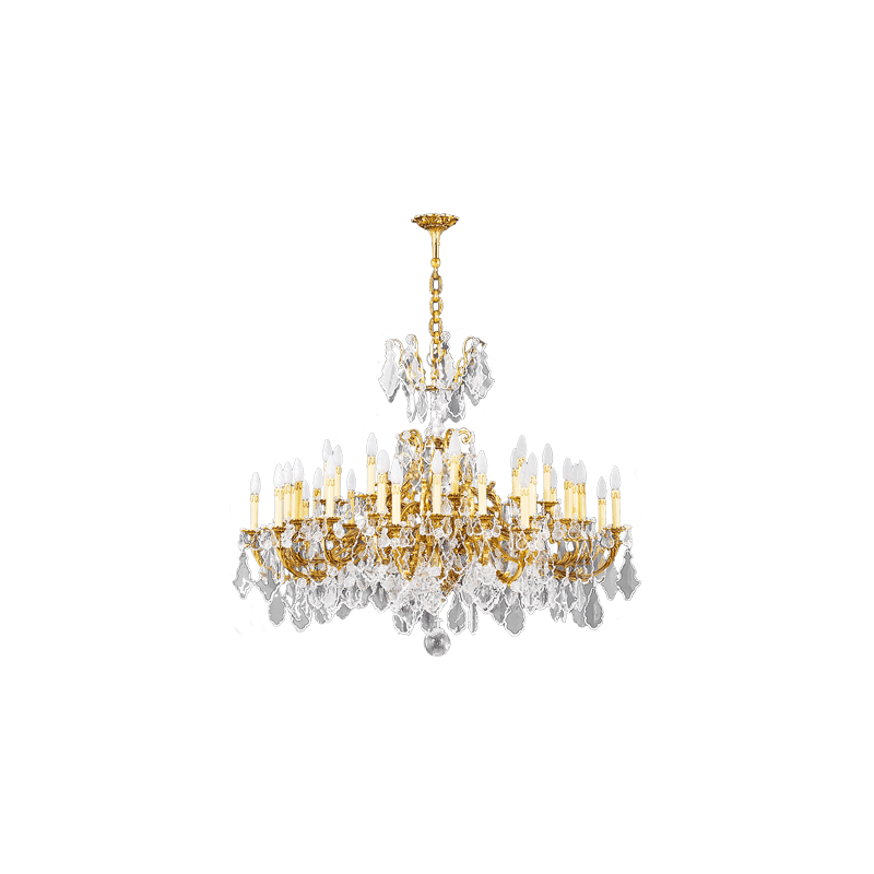 Lucien Gau Golden crystal chandelier 36 lights Louis XV 15395/36 Crystals