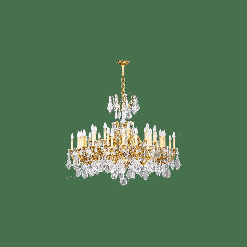 Lucien Gau Lustre doré en cristal 36 lumières Louis XV 15395/36 Cristaux