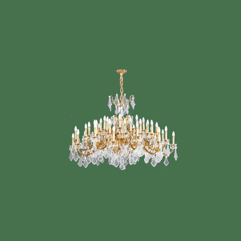 Lucien Gau Lustre doré en cristal 45 lumières Louis XV 15395/48 Cristaux