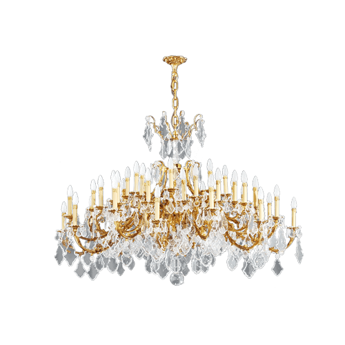 Lucien Gau Golden chandelier in crystal 45 lights Louis XV 15395/48