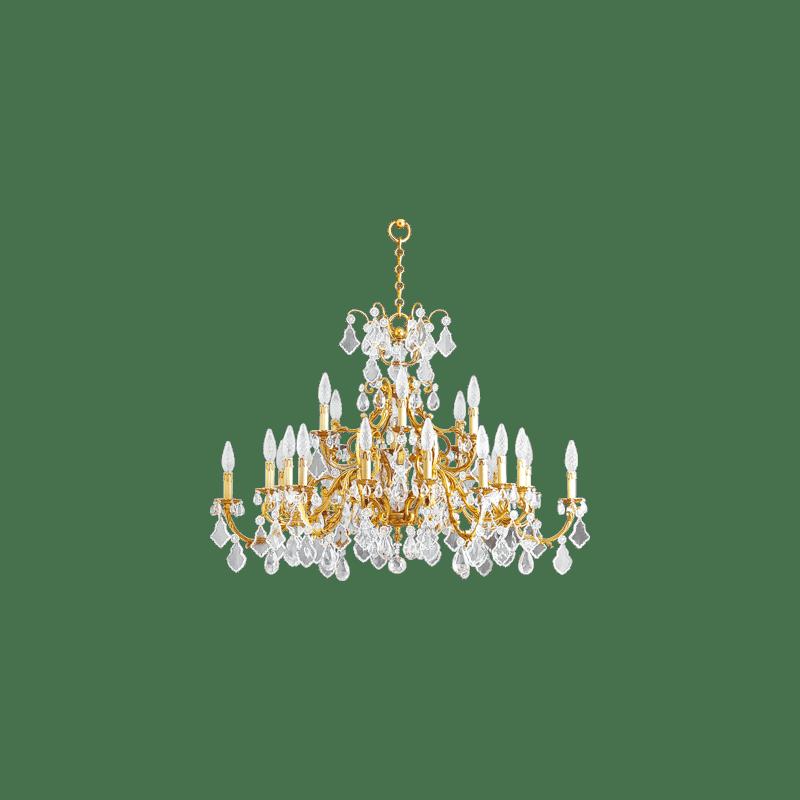 Lucien Gau Lustre doré en cristal 24 lumières Louis XV 15395/24 Cristaux