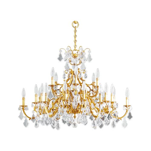 Lucien Gau Golden chandelier in crystal 24 lights Louis XV 15395/24