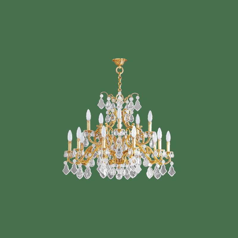 Lucien Gau Lustre doré en cristal 15 lumières Louis XV 15395 Cristaux