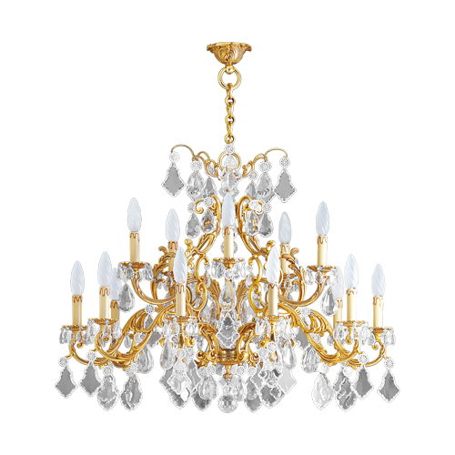 Lucien Gau Golden crystal chandelier 15 lights Louis XV 15395